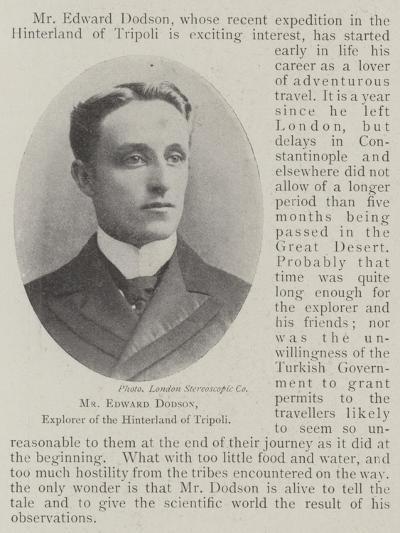 Mr Edward Dodson, Explorer of the Hinterland of Tripoli--Giclee Print