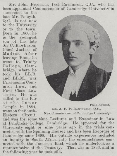 Mr J F P Rawlinson, Qc, New Commissioner of Cambridge University--Giclee Print