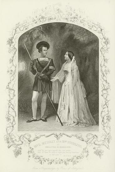 Mr L Murray and Mrs Stirling as Orlando and Rosalind, as You Like It, Act V, Scene IV--Giclee Print