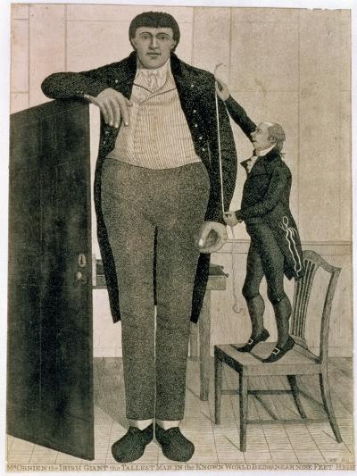 Mr O'Brien, the Irish Giant, the Tallest Man in the known World Being Near Nine Feet High, 1803-John Kay-Giclee Print