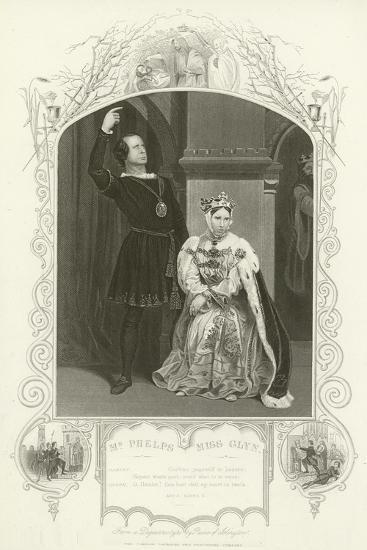 Mr Phelps as Hamlet and Miss Glyn as Queen, Hamlet, Act III, Scene IV--Giclee Print