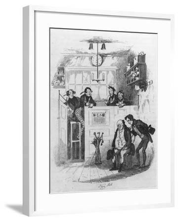 Mr. Pickwick and Sam in the Attorney's Office, Illustration from 'The Pickwick Papers'-Hablot Knight Browne-Framed Giclee Print