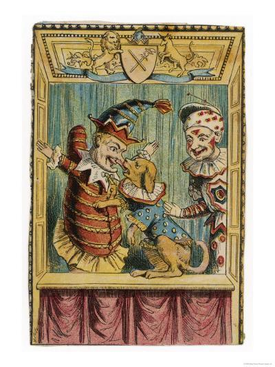 Mr. Punch with Toby the Dog and a Clown--Giclee Print