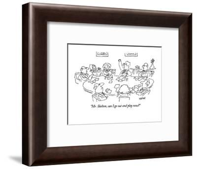 """Mr. Skelton, can I go out and play now?"" - New Yorker Cartoon-Dean Vietor-Framed Premium Giclee Print"