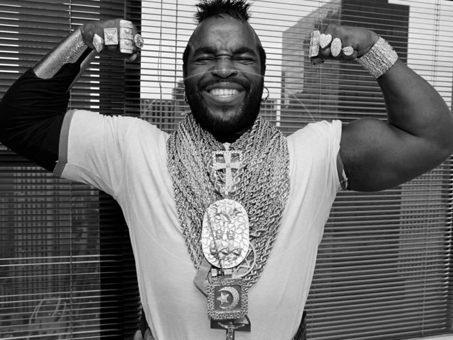 Mr T Flexing Showing Off Muscles And Jewelry Premium