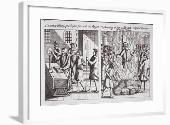 Mr Thomas Bilney, Proving the Fire with His Finger, and the Burning of the Godly and Constant…--Framed Giclee Print