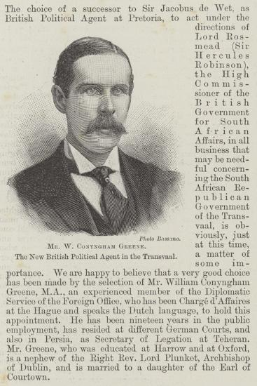 Mr W Conyngham Greene, the New British Political Agent in the Transvaal--Giclee Print