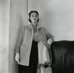 Mrs. Edward Patterson Modeling Evening Coat and Chiffon Dress by Mainbocher