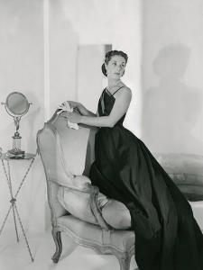 Mrs. Edward Patterson Modeling One-Shoulder Evening Dress by Mainbocher