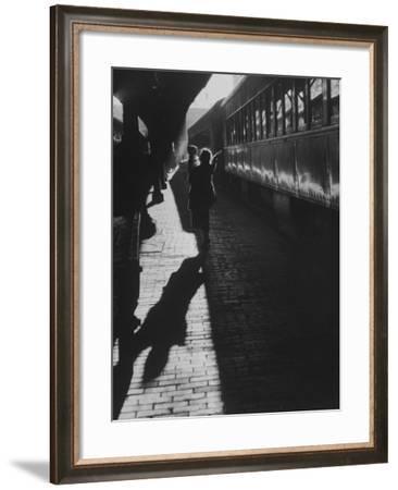 Mrs. Elizabeth Grabowski Carrying Her Son Through Baltimore Penn Station--Framed Photographic Print