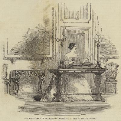 Mrs Fanny Kemble's Readings of Shakespeare, at the St James's Theatre--Giclee Print
