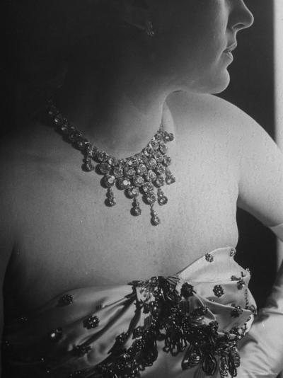 Mrs. Jacques Fath, Wife of Fashion Designer, Wearing Satin Evening Gown and Rhinestone Necklace-Nina Leen-Premium Photographic Print
