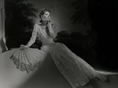 Mrs. John Wilson Wearing White Lace Dress and Jewelry by Cartier--Premium Photographic Print