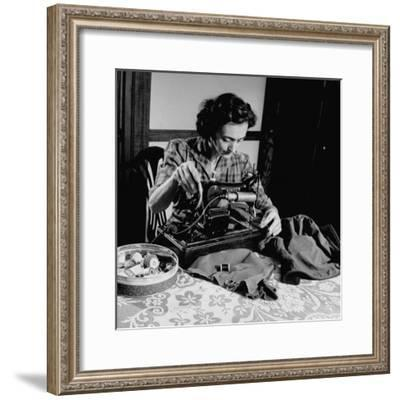 Mrs. Milton D. Phillips Sewing Clothes for Her Family to Stretch the Budget--Framed Photographic Print