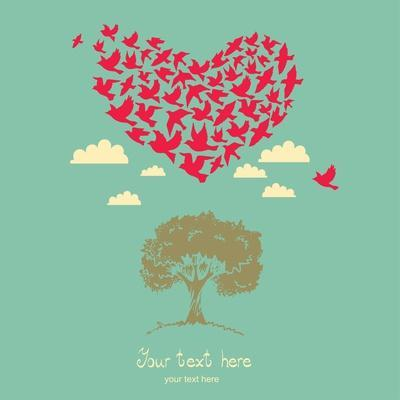 The Heart of the Birds. Love Colorful Card. Can Be Used for Postcard, Valentine Card, Wedding Invit