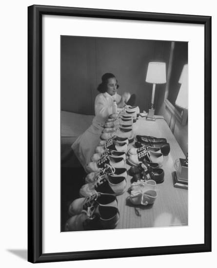 Mrs. Ottilie King Lining Up Her Children's Shoes-Stan Wayman-Framed Photographic Print