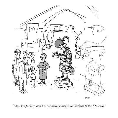 """Mrs. Pepperkorn and her cat made many contributions to the Museum."" - New Yorker Cartoon-George Booth-Premium Giclee Print"
