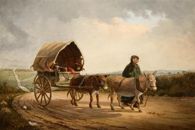 Mrs Ridout Leading Donkeys and a Cart-Frank Brooks-Giclee Print