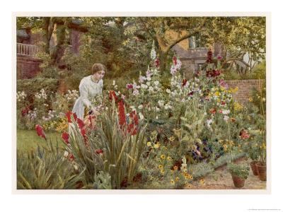 Mrs Spooner in Her Thames-Side Garden at Hammersmith West London-Beatrice Parsons-Giclee Print