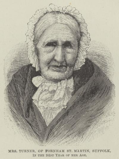Mrs Turner, of Fornham St Martin, Suffolk, in the 101st Year of Her Age--Giclee Print
