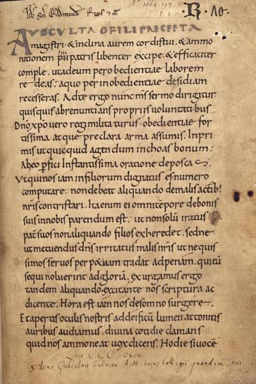 Ms. 197 F.1R Rule of St. Benedict--Giclee Print