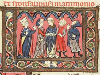 Ms 364 Fol.166 A Marriage, Illustration from Commentaries of Johannes Andreae on Papal Decretals-French-Giclee Print