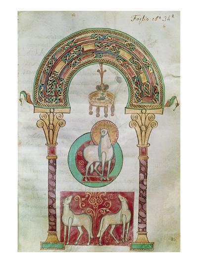 Ms Ccii Fol.35R Agnus Dei, Illustration of the 'Lamb of God' from 'Etymologiae'- Carolingian-Giclee Print