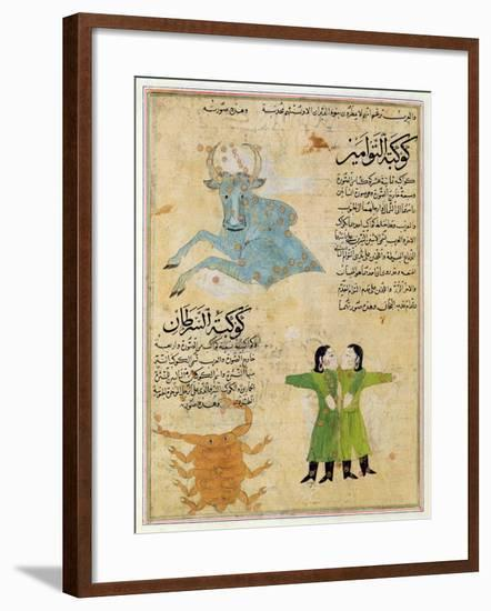 Ms E-7 Fol.23A the Constellations of the Bull, the Twins and the Crab-Islamic School-Framed Giclee Print