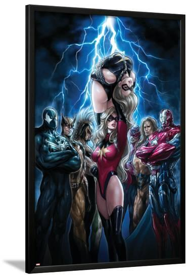 Ms. Marvel No.44 Cover: Ms. Marvel, Spider-Man, Iron Patriot, Wolverine, Ares, Hawkeye and Sentry-Sana Takeda-Lamina Framed Poster