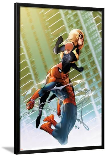 Ms. Marvel No.47 Cover: Ms. Marvel and Spider-Man-Pasqual Ferry-Lamina Framed Poster