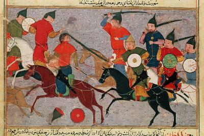 Ms Pers.113 F.49 Genghis Khan (C.1162-1227) in Battle, from a Book by Rashid-Al-Din (1247-1318)--Giclee Print