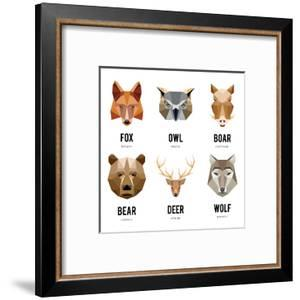 Low Polygon Animal Logos. Triangular Geometric Set. Bear, Deer, Fox, Boar and Wolf. Vector Illustra by MSSA