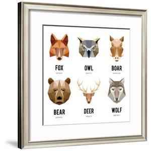 Low Polygon Animal Logos. Triangular Geometric Set. Bear, Deer, Fox, Boar and Wolf. Vector Illustra by MSSA