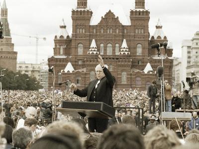 Mstislav Rostropovich, Russian Conductor, Red Square, Moscow, Russia, 1993--Photographic Print