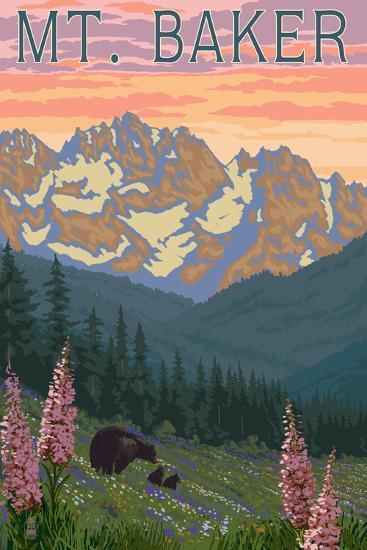 Mt. Baker, Washington - Bears and Spring Flowers-Lantern Press-Art Print