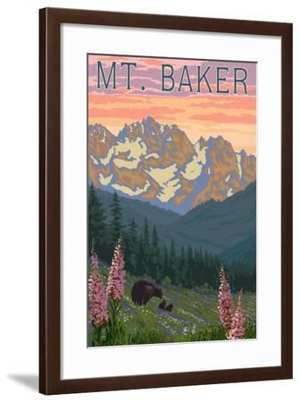 Mt. Baker, Washington - Bears and Spring Flowers-Lantern Press-Framed Art Print