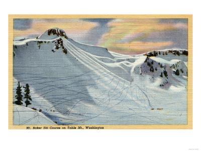Mt. Baker, Washington - View of Mt. Baker Ski Course on Table Mt.-Lantern Press-Art Print