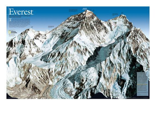 Mt. Everest Map-National Geographic Maps-Art Print
