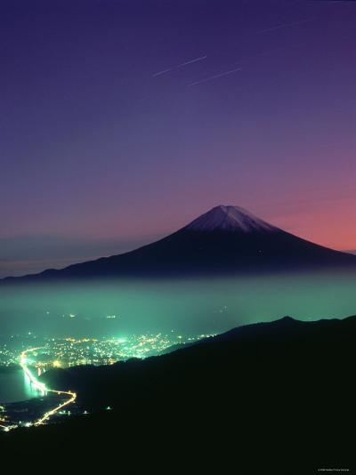 Mt. Fuji and City Lights, Viewed from Mitsu Tohge, Yamanashi, Japan--Photographic Print