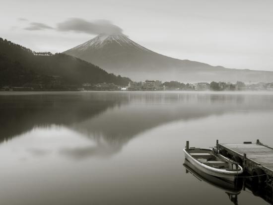 Mt. Fuji and Lake Kawaguchi, Kansai Region, Honshu, Japan-Peter Adams-Photographic Print