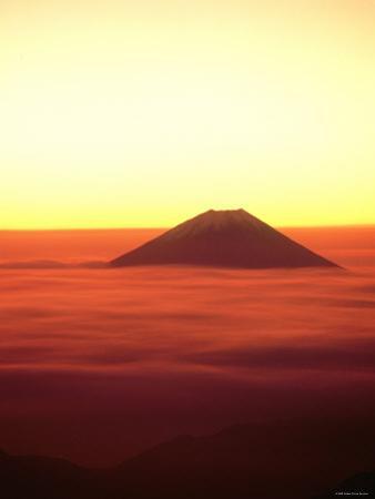 Mt. Fuji Over the Sea of Cloud at Dawn and Viewed from Mitsu-Tohge, Yamanashi, Japan