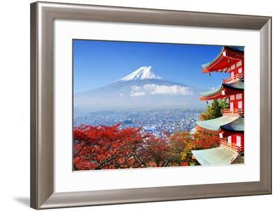 Mt. Fuji with Fall Colors in Japan.-SeanPavonePhoto-Framed Photographic Print