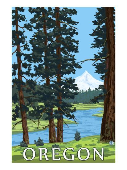 Mt. Hood and River - Oregon Scene-Lantern Press-Art Print