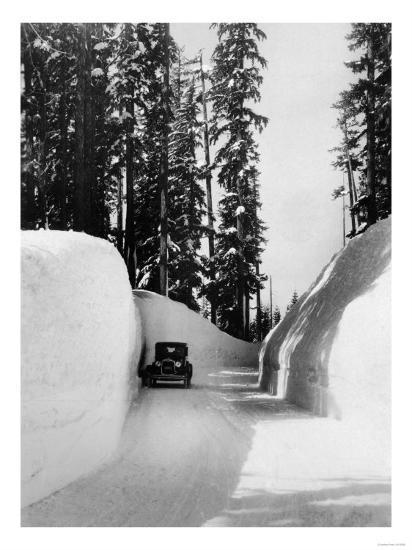 Mt. Hood Loop Road Snow Canyon Photograph - Mt. Hood, OR-Lantern Press-Art Print