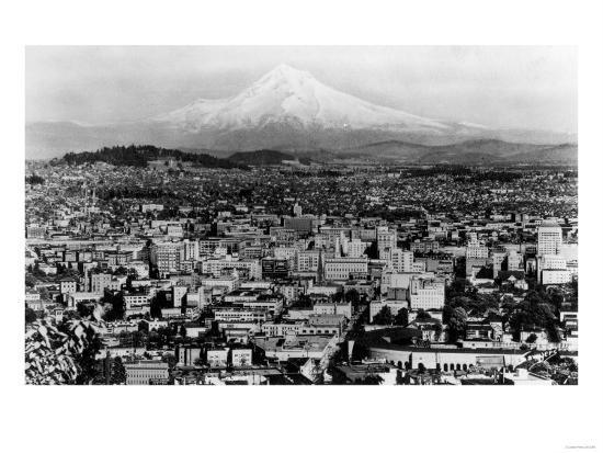 Mt. Hood View from Portland, Oregon Photograph - Portland, OR-Lantern Press-Art Print