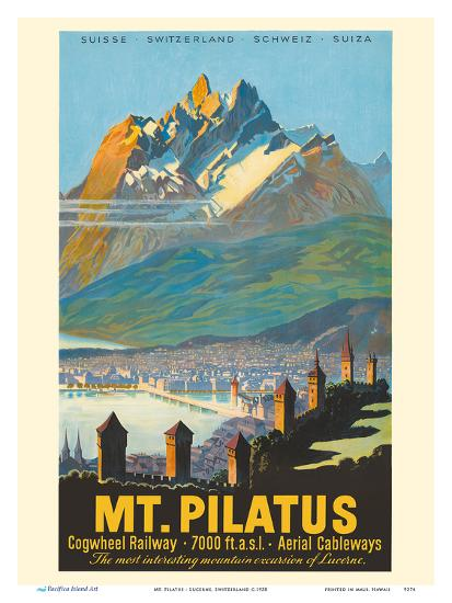 Mt. Pilatus - Lucerne, Switzerland - Cogwheel Railway-Pacifica Island Art-Art Print