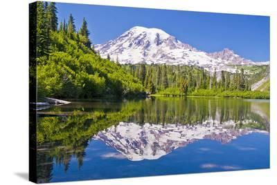 Mt Rainier and Bench Lake--Stretched Canvas Print
