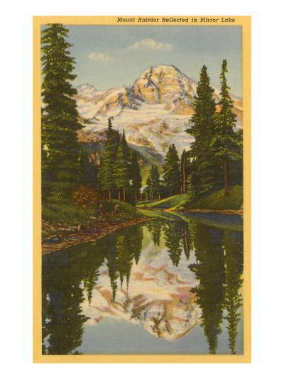 Mt. Rainier from Mirror Lake, Washington--Art Print
