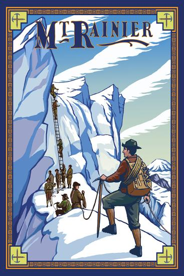 Mt. Rainier Ice Climbers, Washington-Lantern Press-Wall Mural