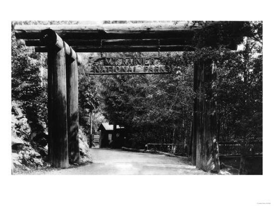 Mt. Rainier National Park Entrance Photograph - Mount Rainier, WA-Lantern Press-Art Print
